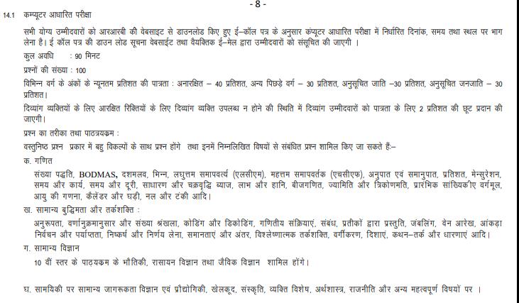 RRB Group D Syllabus in Hindi