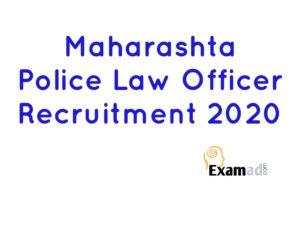 Maharashtra police Law Officer Recruitment 2020